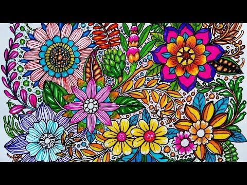 Cara Menggambar Dan Mewarnai Motif Bunga Yang Indah Time Lapse Youtube