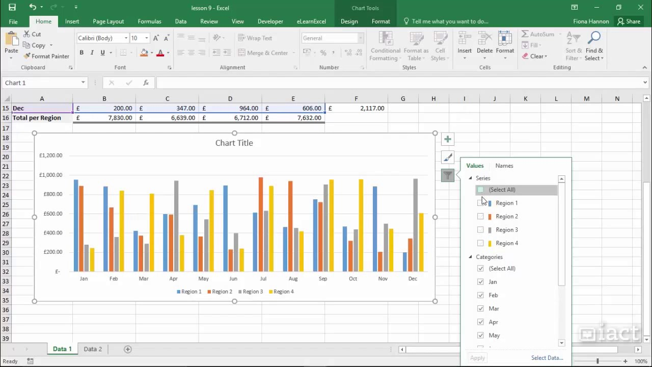 Showing filters in charts excel also youtube rh