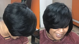SHORT LAYERED BOB W/ NO LEAVE OUT | QUICKWEAVE TUTORIAL