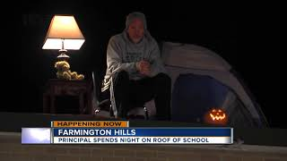 Metro Detroit principal spending night on roof after students raise $20,000