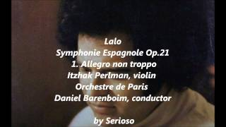 Lalo, Symphonie Espagnole Op 21, 1stmov, perlman