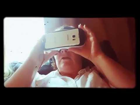 Grandma playing gear VR Terror Caves