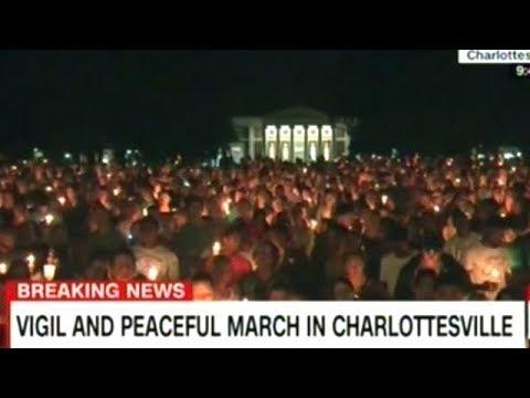 Massive Candlelight Vigil Held For Heather Heyer In Charlottesville Virginia