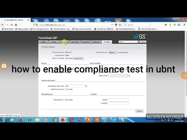 How to enable compliance test in ubnt