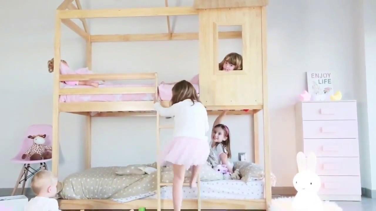 Litera Cama Infantil Con Forma De Casa Furnet Youtube