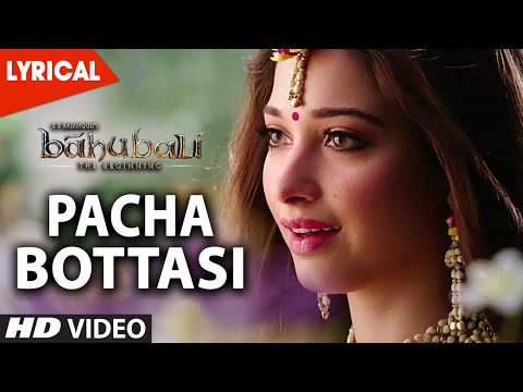 Thumbnail: Pacha Bottasi Lyrical Video Song || Baahubali (Telugu) || Prabhas, Rana, Tamannaah