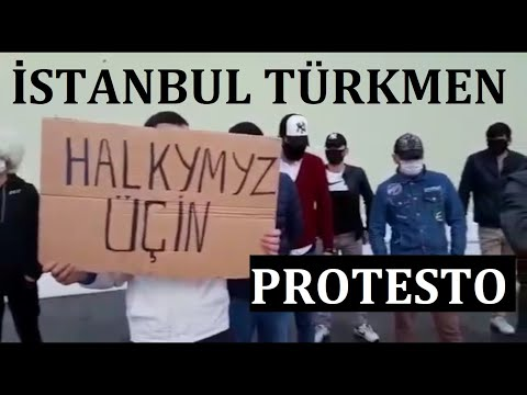 Türkmen Protesto 9   Stanbulda Protest   Diktatör Biz Seni İstemiyoruz