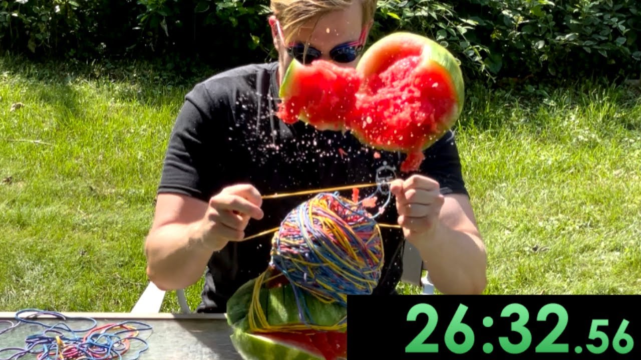 I speedrun exploding a watermelon with rubber bands