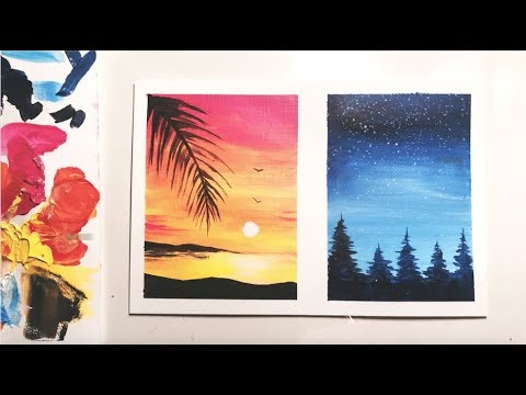 Acrylic Painting For Beginners | Sunset & Forest Painting Idea