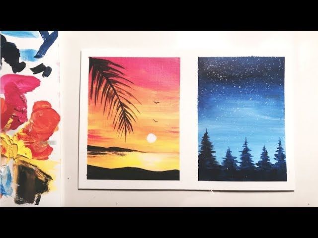 Acrylic Painting For Beginners Sunset Forest Painting Idea Youtube