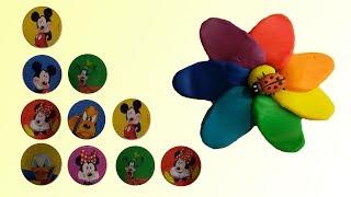 Учимся считать с Микки Маусом. Ищем сюрпризы в цветах из Play-Doh пластилина
