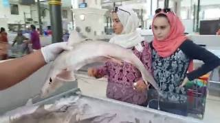 Cutting Grey Shark in slices at Fish Market in Sharjah Jubail UAE تقطيع سمك القرش الرمادي سوق السمك