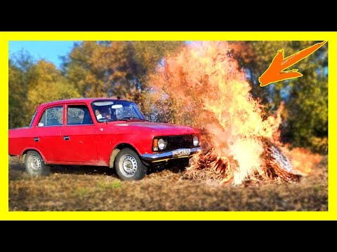 Experiment : Crash Test Car With Fire,Wood,Tv And Washing Machine