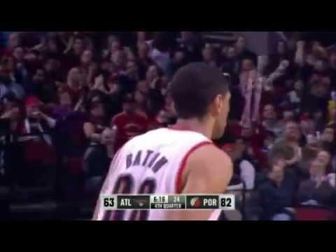 Nicolas Batum powerful baseline dunk on Hawks