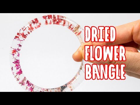 AB epoxy resin bangle tutorial with dried flower - Malaysia Clay Art