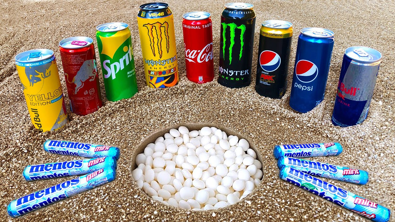 Experiment Big Yellow Mentos Volcano Underground vs Stretch Armstrong Cola Different Fanta