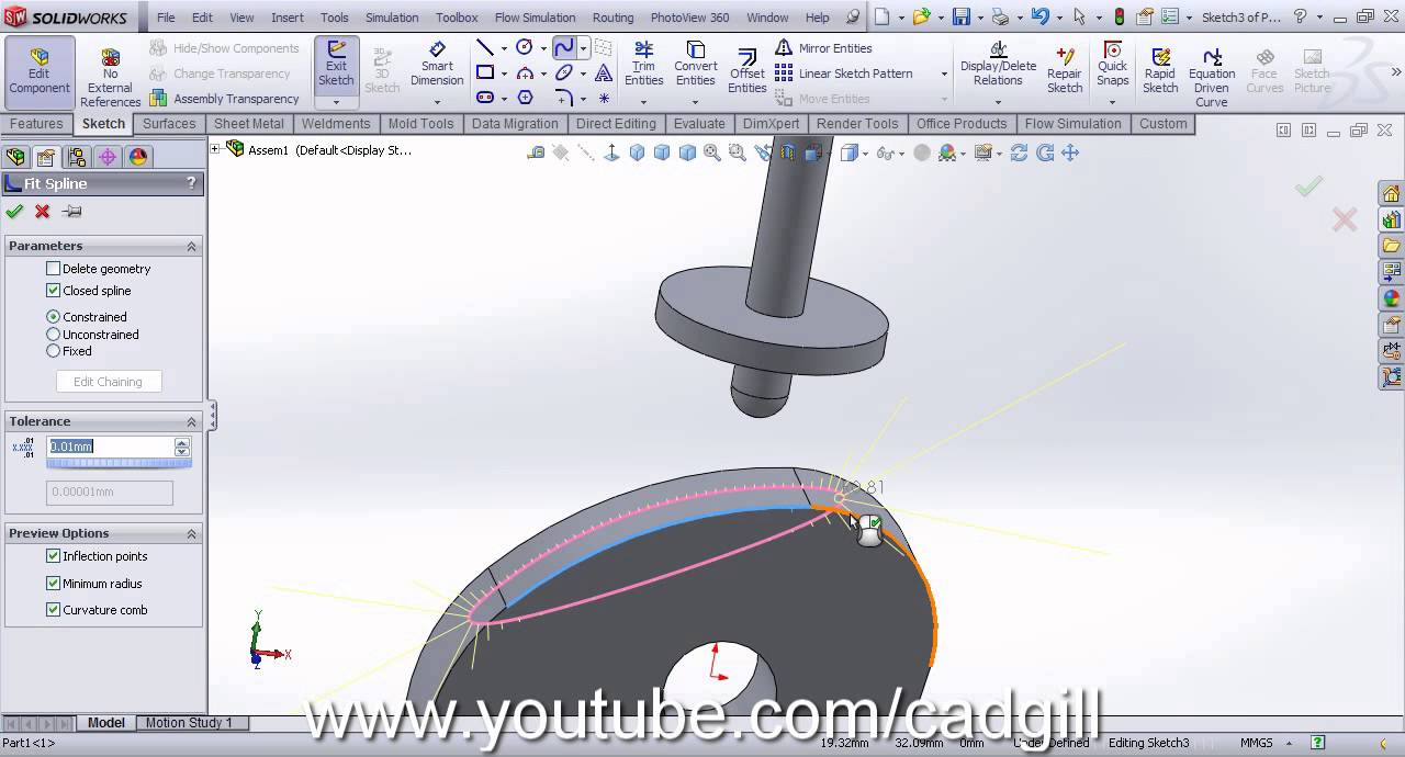 Video Tutorial on Cam Follower Mechanism in SolidWorks Part #2