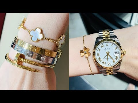 Cartier, Bvlgari, Van Cleef and Arpels jewellery shopping and try on | Black and Gold Style