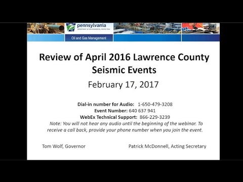 Webinar: Review of Seismic Events in Lawrence County, Pennsylvania