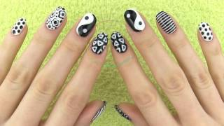 sara bareilles Nail Art in Black and White! Monochrome Nails with MissJenFabulous 2016