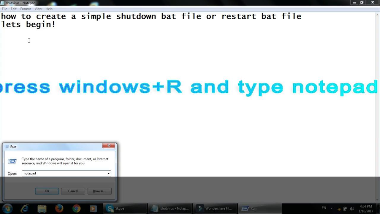 How to create shutdown and restart  bat file desktop icon