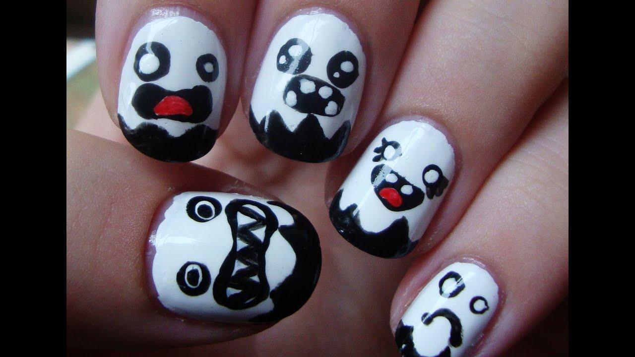Halloween Series: Cute Ghost Nails - YouTube