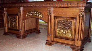 Шикарный комплект мебели для кабинета. Массив дуба.(Мебель для дома. Furniture for home. Эксклюзивная мебель из натурального дерева, массив дуба. Ручная работа с элемен..., 2015-02-28T00:35:58.000Z)