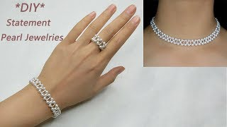 MY 2nd Design: DIY Pearl and Sterling Silver Jewelries: Bracelet, Ring and Necklace