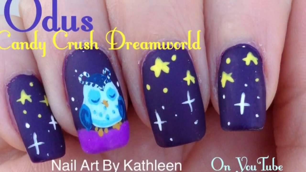 Odus Candy Crush Dreamworld Owl Freehand Nail Art Tutorial Youtube