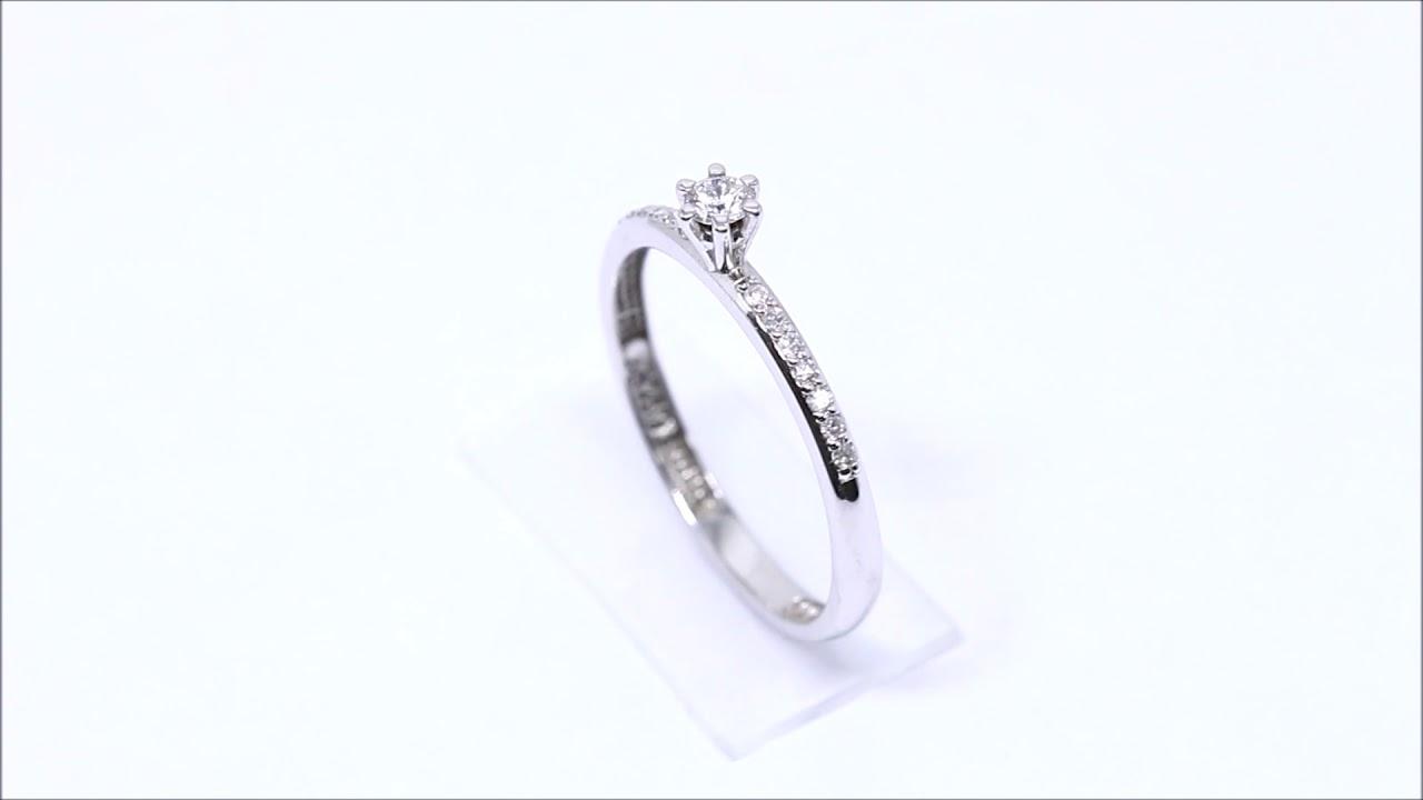 d294362cf04c2 Anel Solitário Ouro Branco 18k Diamantes. Retran Joias