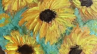 Подсолнухи маслом! Техника мастихин! Sunflower oil painting! HomeWork