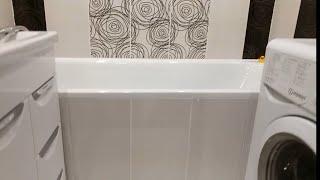 Классный ремонт ванной комнаты в чорно-белых тонах.