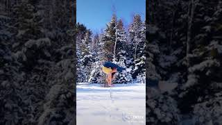 Contortion On Canes In The Snow . Viral Tiktok by Anna Mcnulty #shorts