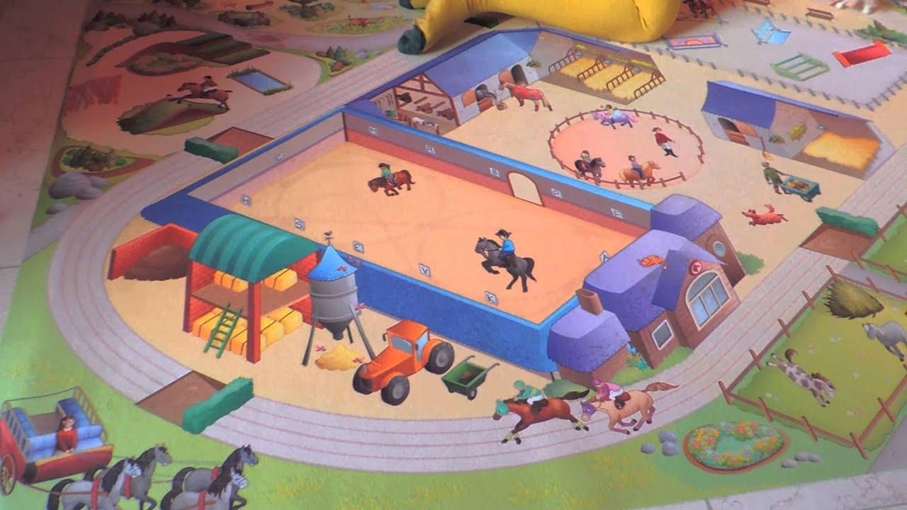 Spielunterlage Reiterhof  Spielteppich Pferde  Teppich