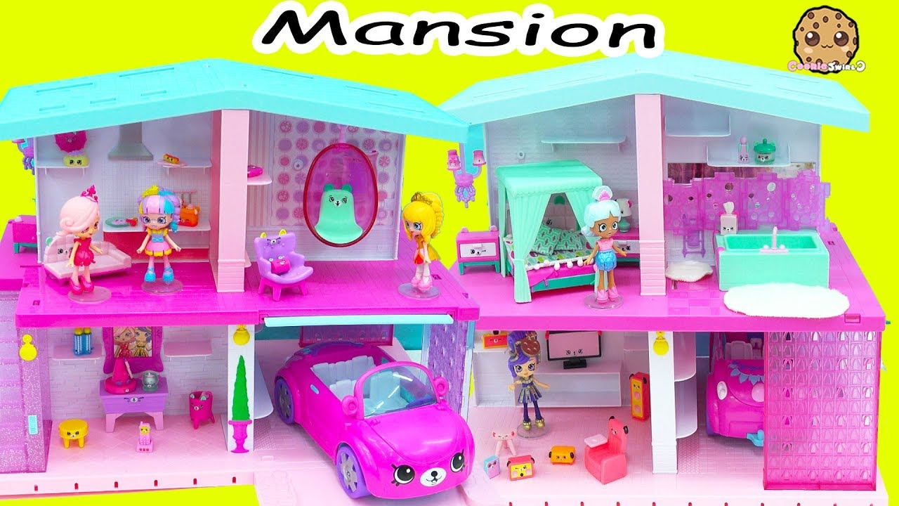 Shopkins shoppies happy places dream house mansion with for Garage happy car