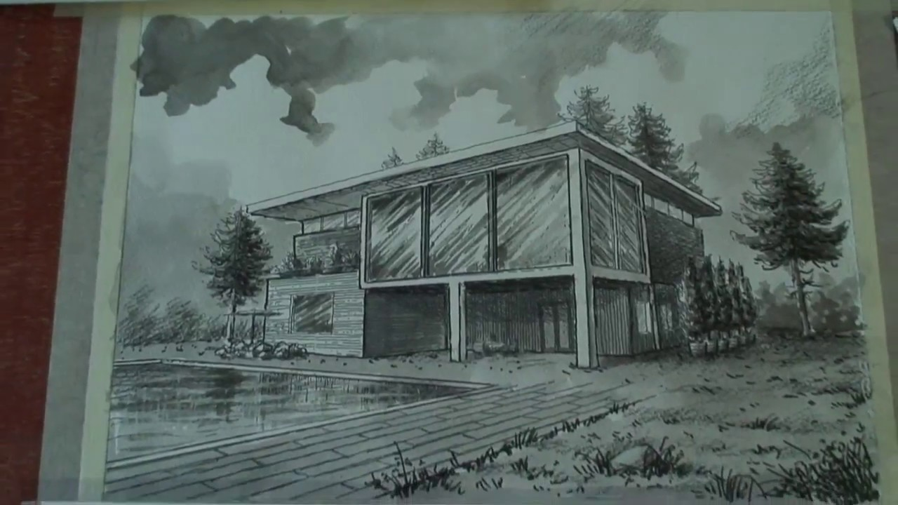 Dibujo arquitect nico t cnica tinta china o aguada youtube for Dibujo arquitectonico