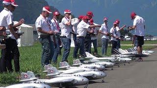 Staffel Flug 18x RC JET's 6x Venom,3x Hunter,3x F-5 Tiger,3x F/A-18 and 3x Mirage