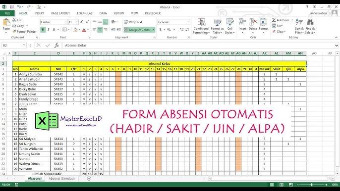Excel Form Absensi Otomatis Kalkulasi Sakit Ijin Alpha Youtube