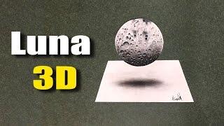 Como dibujar Luna 3D - Drawing Moon 3D
