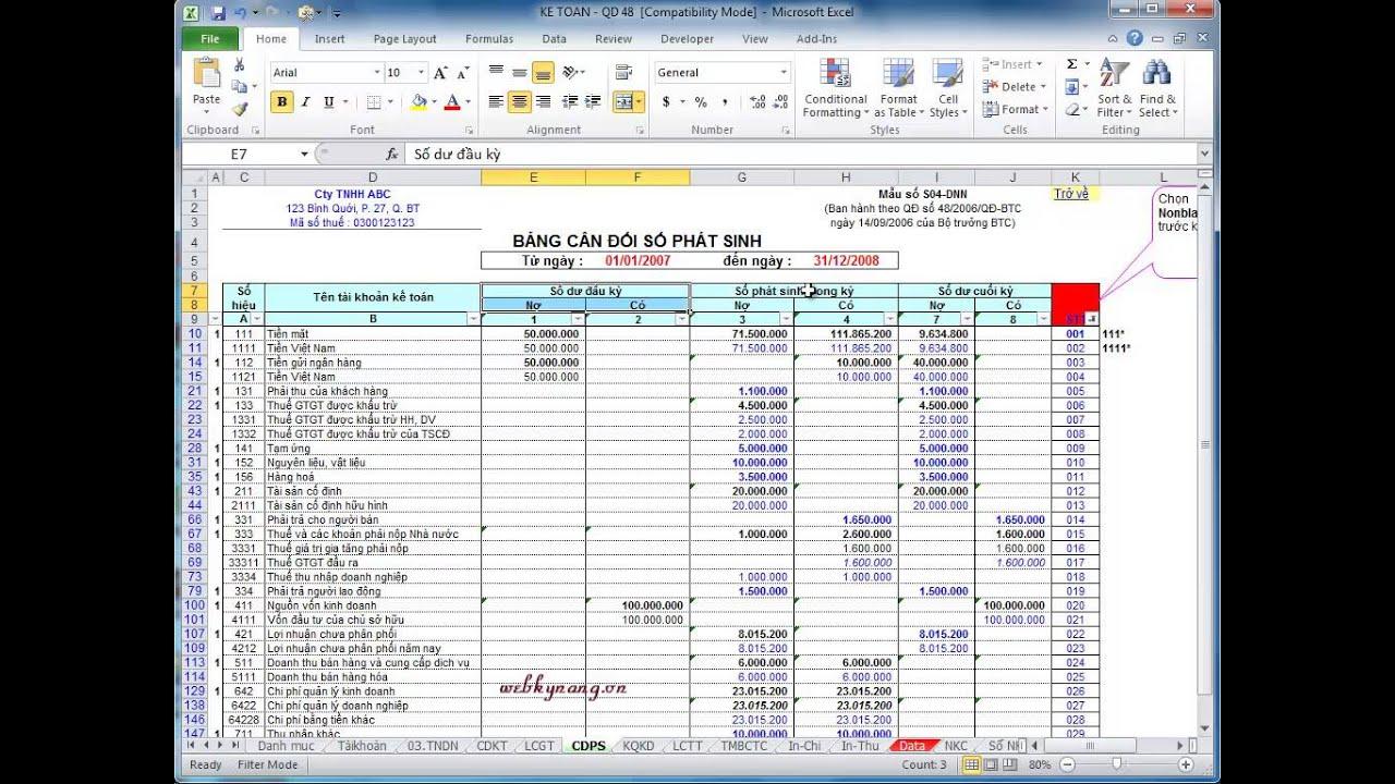 GỘP Ô TRONG EXCEL 2010 [webkynang.vn]