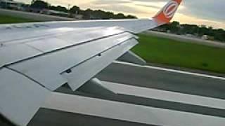 decolagem vista por dentro do avio