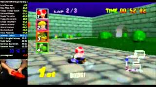 Mario Kart 64 PAL All Cups 150cc Speedrun in 50:57 with controllercam (no skips)