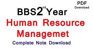 Human Resource Management BBS 2nd Year