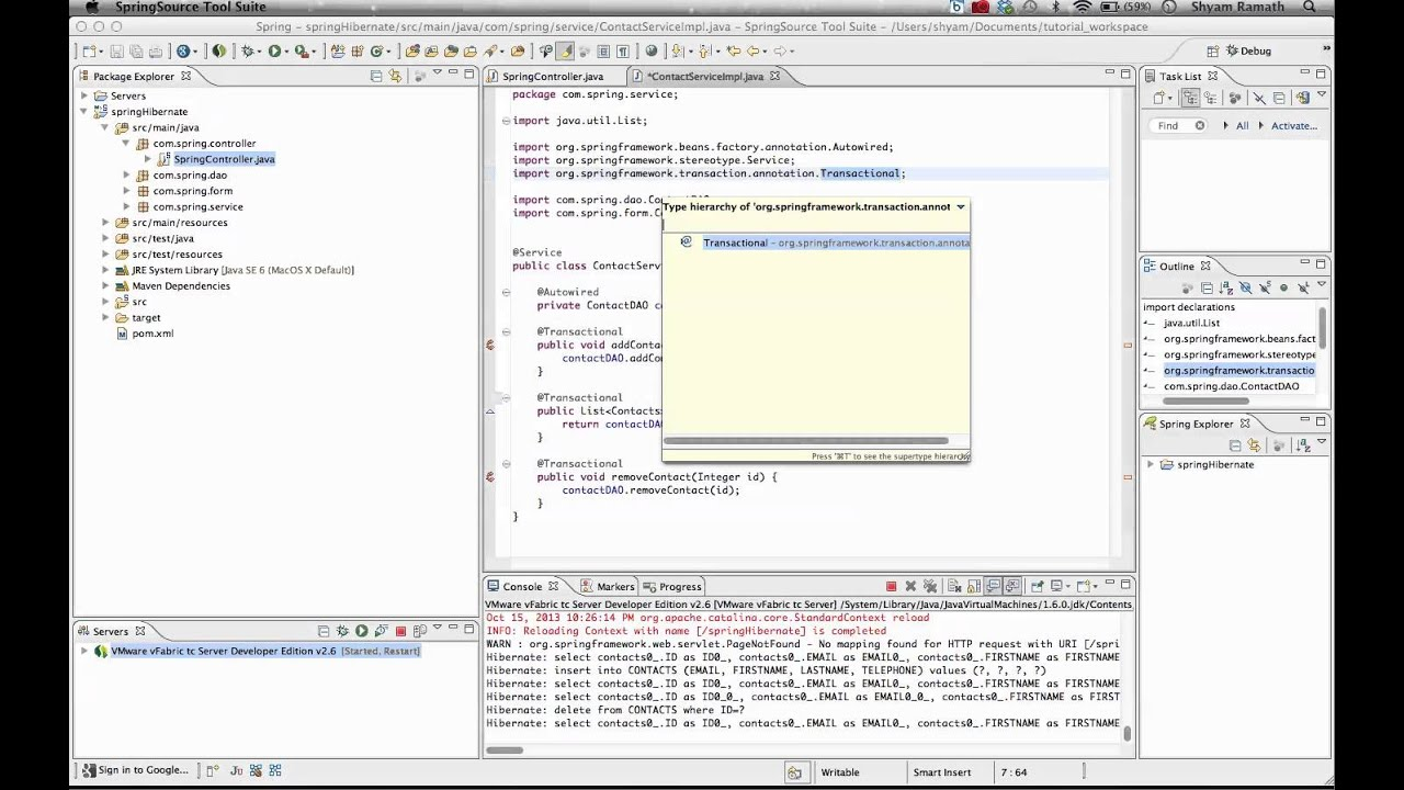 HIbernate + Spring 3.0 + Spring Transaction - YouTube
