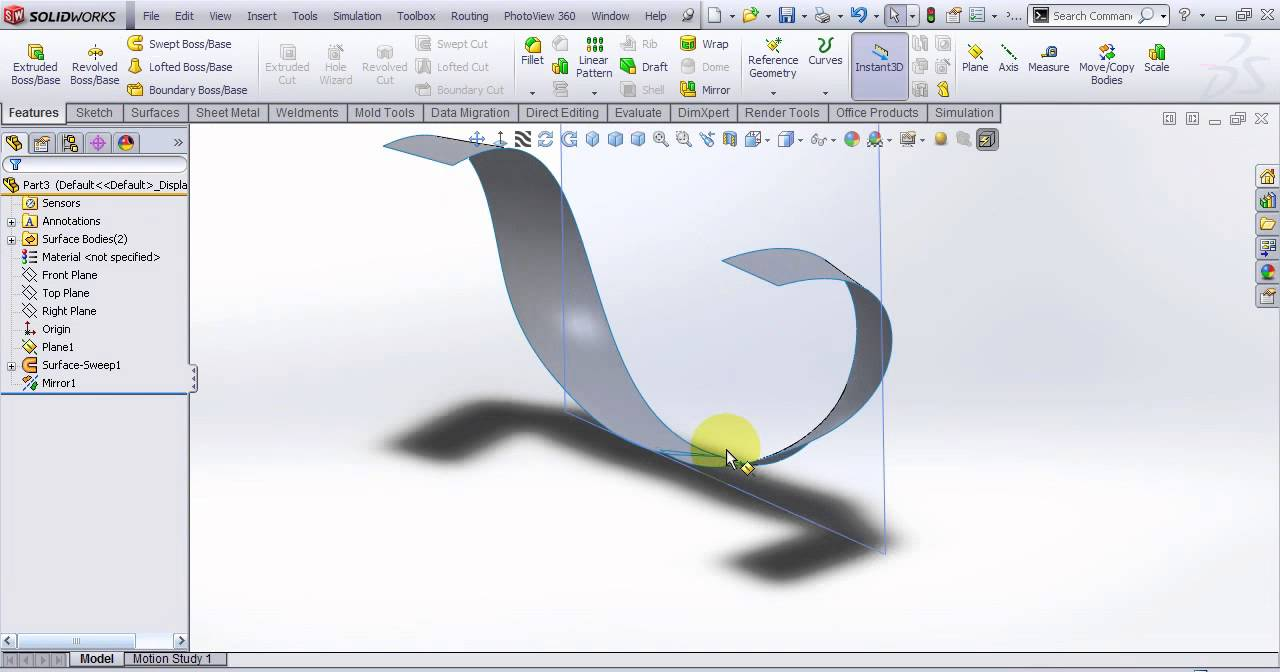 Video Tutorial on Mirror 3D sketch in SolidWorks Method #2