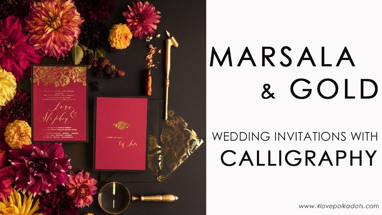 Marsala and Gold wedding invitations with calligraphy - YouTube