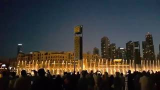 Dubai Fountain & Emarati opening song Hakem Dubai 18.00 hrs show نافورة دبي وأغنية حاكم دبي