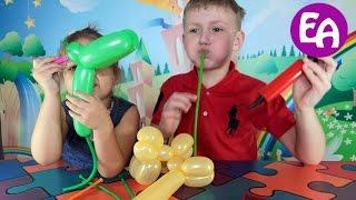 Фигурки из шаров колбасок своими руками  Figures from balloons with their own hands(Мы первый раз пробуем сделать фигурки из воздушных шаров колбасок. Смотрите, что у нас получилось https://youtu.be/X..., 2016-04-07T04:39:36.000Z)