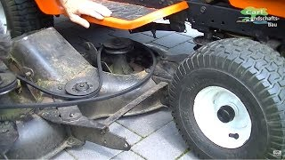HOW TO REPLACE BELT+REMOVE DECK ON RIDING LAWN MOWER TRACTOR REPAIR YARD PRO ELECTROLUX/HUSQVARNA