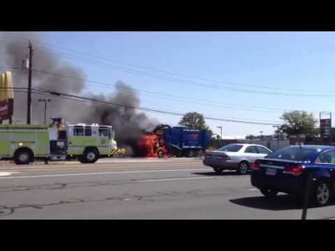 Garbage truck on fire